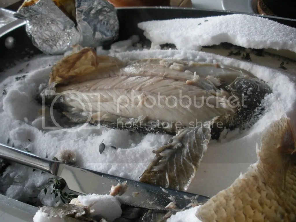 sea bass,sea salt,baked,bay leaf,spanish