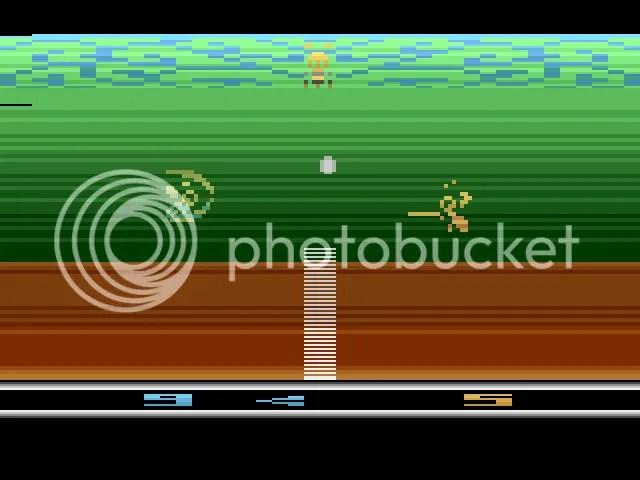 Abelhas jogando tênis em um cenário multicolorido, com direito a saques especiais.