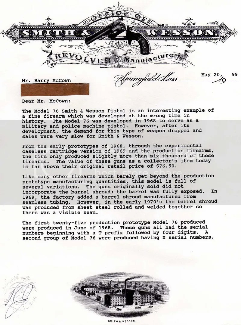 S&W 76 Manual and Factory Letter