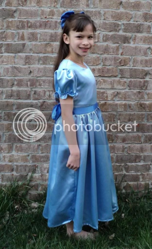 New Elegant Peter Pan Wendy Satin Costume 2pc Dress Set
