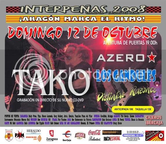 Cartel del concierto de Tako en la noche de la música aragonesa