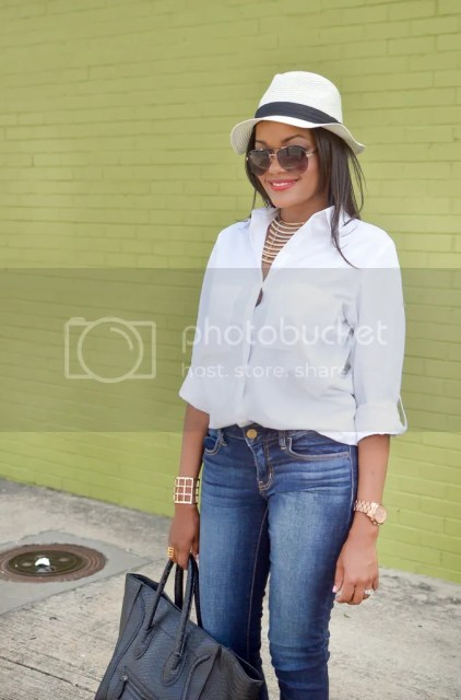 panama hat, fedora, designer inspired celine handbag, sam edelman mules, wedge mules, shoe game, white shirt, blue jeans, dallas fashion blogger, fashion, fashion blogger, dallas blogger, black fashion blogger, lookbook, style diary, detroit blogger, black aviators, sam edelman shoes, just fab handbag, mossimo shirt