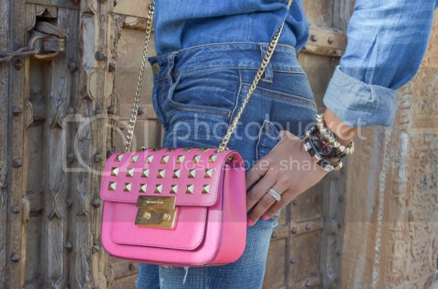 fashion, fashion blog, all denim outfit, chambray outfit, pink pumps, bcbgeneration, michael kors studded crossbody, dallas fashion blogger, fashion blogger, black fashion blogger, detroit fashion blogger, ripped jeans, american eagle ripped jeans, studded pumps