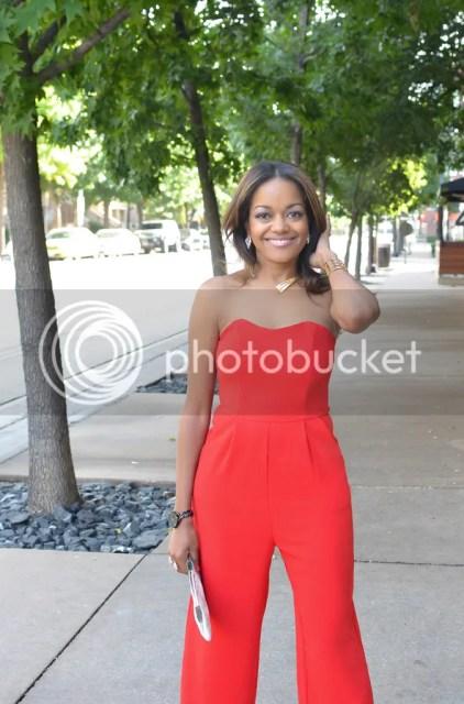 jumpsuit, asos jumpsuit, red jumpsuit, red culottes, fringe heels, fringe sandals, zara shoes, dallas blogger, fashion blogger, black fashion blogger, detroit blogger, bauble bar grid cuff, summer trend, summer fashion