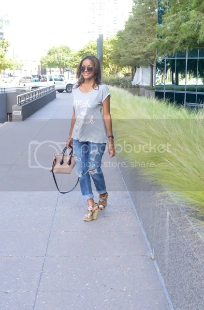 brunch, brunch attire, brunch outfit, outfit of the day, kohls apartment 9 tee, ripped jeans, american eagle jeans, wedge sandal, steve madden, look for less celine, aldo celine style bag, arm party, make me brunch tee, dallas blogger, fountain place dallas, dallas fashion blogger, fashion blogger, detroit fashion blogger, black fashion blogger