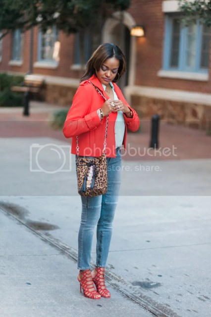 fashion blogger, dallas fashion blogger, detroit fashion blogger, fall fashion, mint and red outfit, steve madden slither sandal, paige moto jeans, leopard handbag, leopard bucket bag, zara red jacket, express portofino mint shirt, schutz juiliana look for less, tassel necklace, detroit fashion blogger