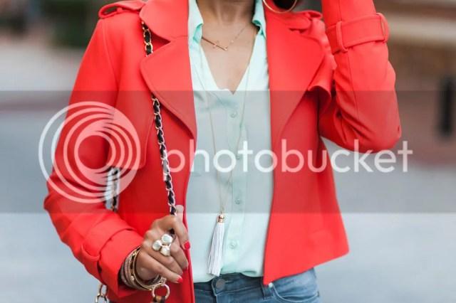fashion blogger, dallas fashion blogger, detroit fashion blogger, fall fashion, mint and red outfit, steve madden slither sandal, paige moto jeans, leopard handbag, leopard bucket bag, zara red jacket, express portofino mint shirt, schutz juiliana look for less, tassel necklace, detroit fashion blogger