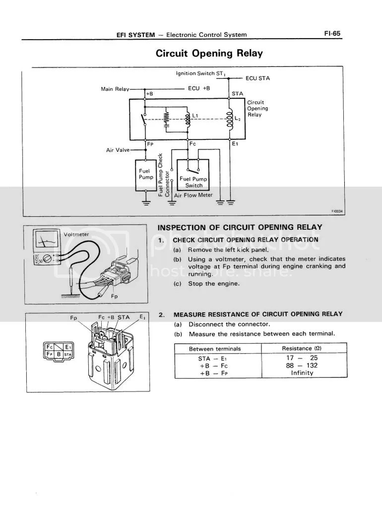 hight resolution of fuel pump circuit opening relay testing