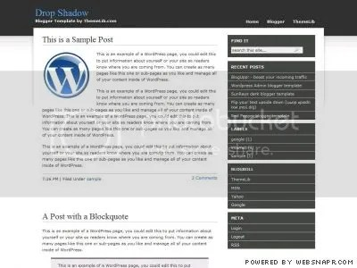 Drop Shadow blogger template