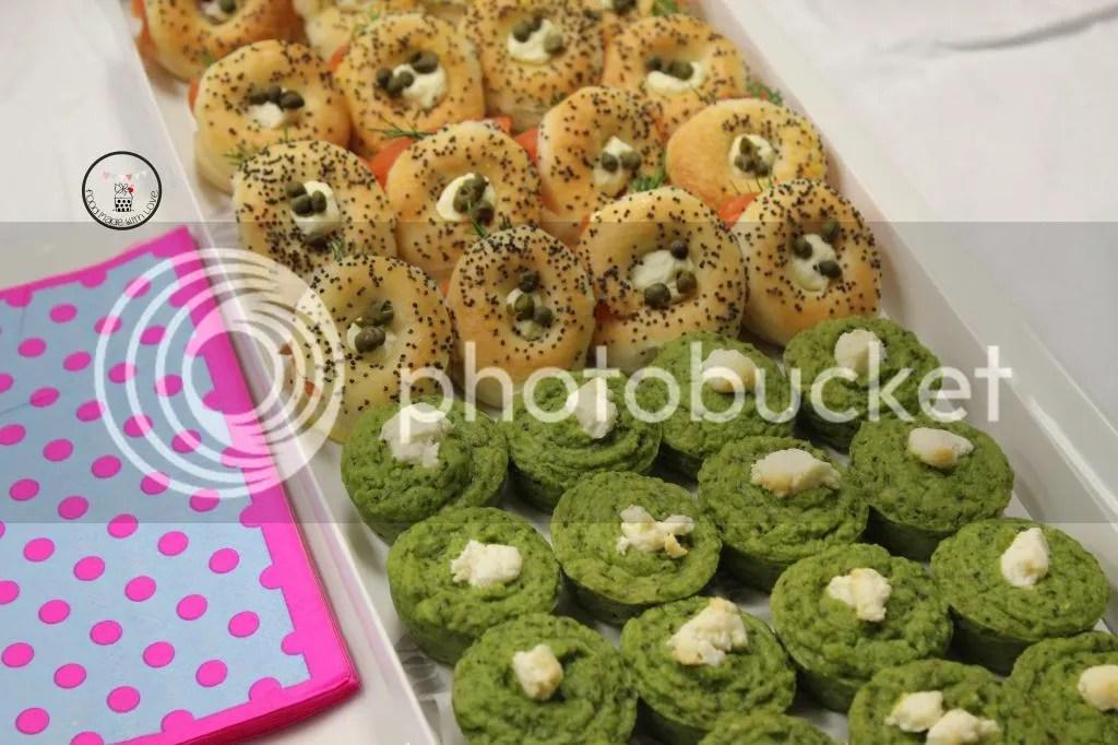 mini smoked salmon bagels and pea tarts
