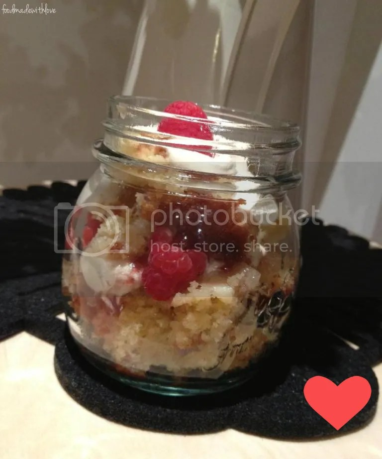 Sour cream pound cake in a jar