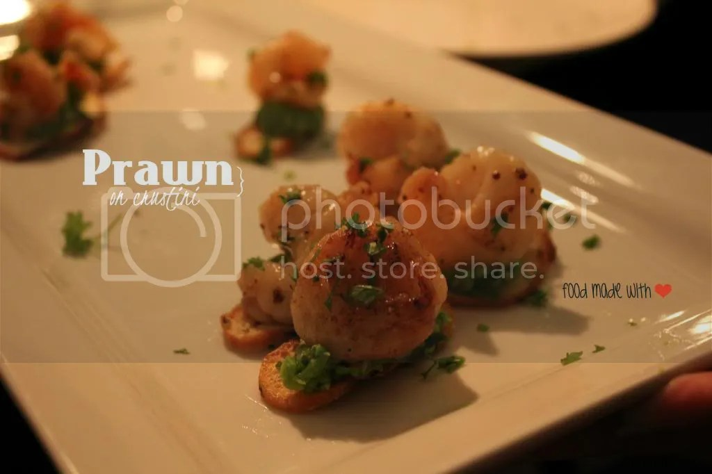 Prawns on Crustini