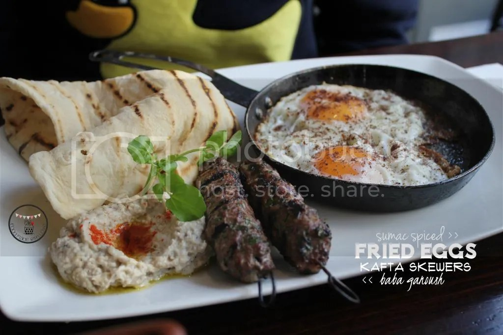 sumac spiced eggs with kafta skewers and baba ganoush