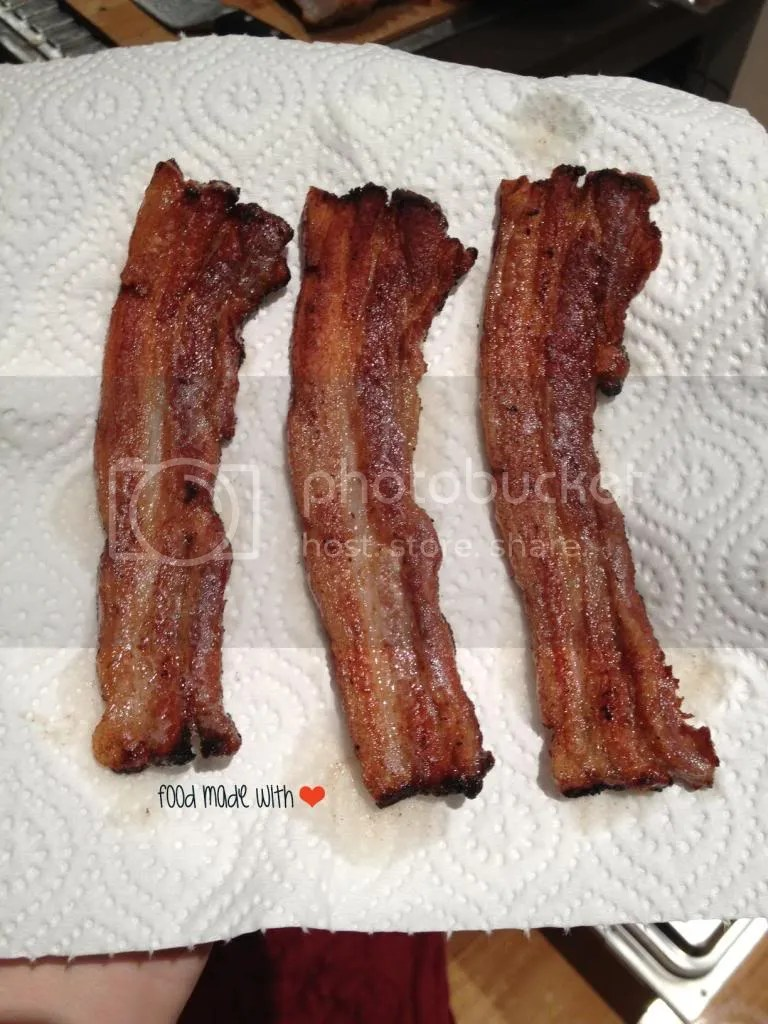 perfectly fried thick-cut bacon