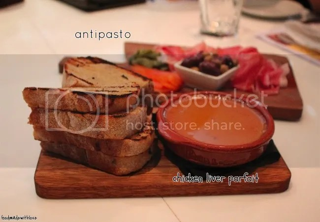 Chicken liver parfait & antipasto