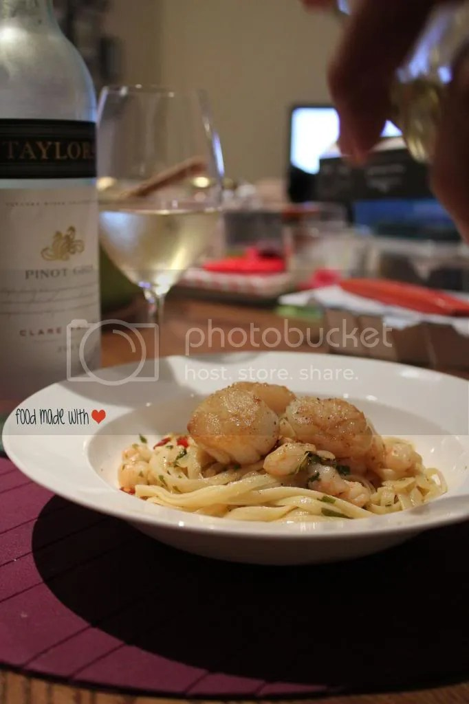 Prawn aglio olio with seared scallops