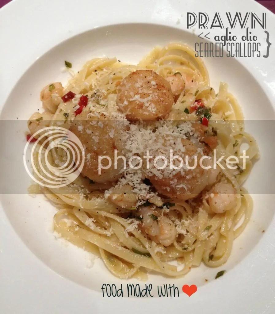 Prawn aglio olio with seared scallops