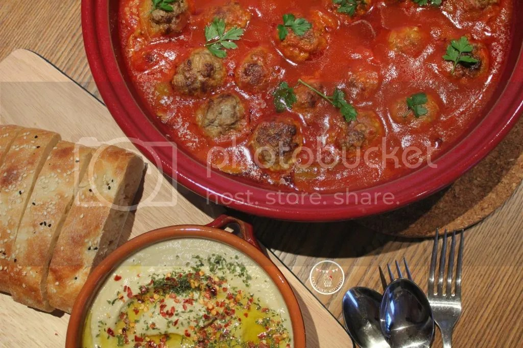 Moroccan meatballs with baba ganoush and turkish bread