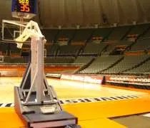 An empty arena at the Assembly Hall on the campus of the University of Illinois