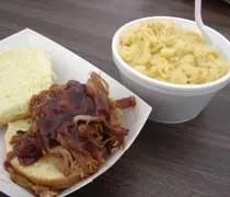 The pulled pork and mac n cheese from Chucks Southern Comforts Cafe as served at Chucks Cajun Fest