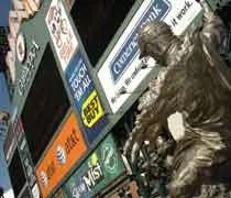 Leftfield scoreboard and one of the statues in left field