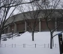 Crisler Arena on a cold, snowy day in Ann Arbor.