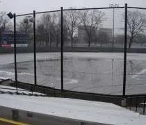 A cold, rainy spring day at Eichelberger Field on Florida Avenue in Urbana, IL