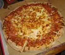 A large cheese pizza from Happys Pizza