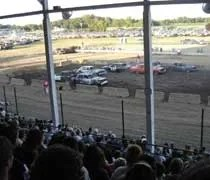 Heat race during the demolition derby at the Ingham County Fair in Mason