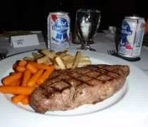 My NY Strip Steak with fries and the PBR the Marriott stocked just for our wedding.