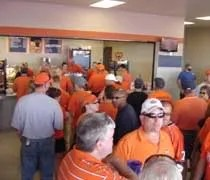 The line for a concession stand in the new upper concourse of Memorial Stadium in Champaign