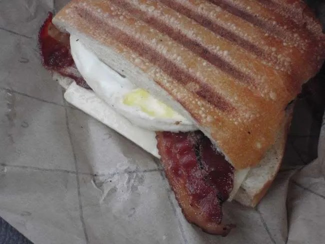 Applewood Smoked Bacon, Vermont White Cheddar, Egg on Ciabatta