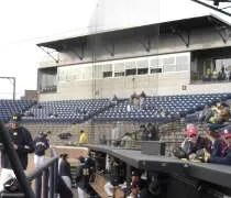 The grandstands and press box at Ray Fisher Stadium in Ann Arbor