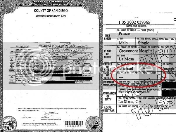 Certidão de nascimento de Prince Michael II