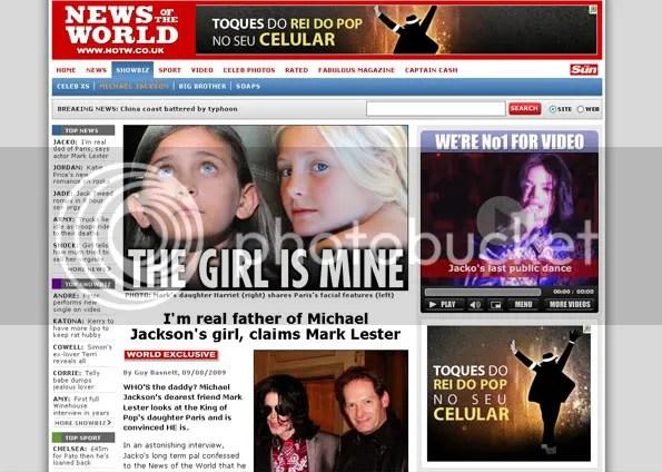 'News of the world' traz fotos de Michael Jackson com Mark Lester (na foto que aparece no canto inferior direito da reportagem). Lester é padrinho dos filhos do cantor. (Foto: Reprodução do site)
