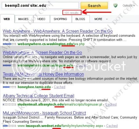 Backlink .edu di Yahoo!