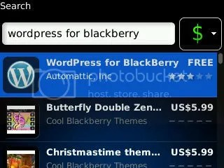 Search WordPress for BlackBerry on BlackBerry App World
