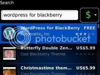 Search WordPress for BlackBerry on BlackBerry App World