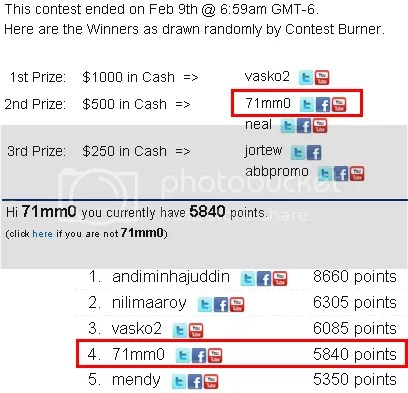 Viral Link Contest - Winner