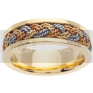 14k Tri-Color Wedding Band