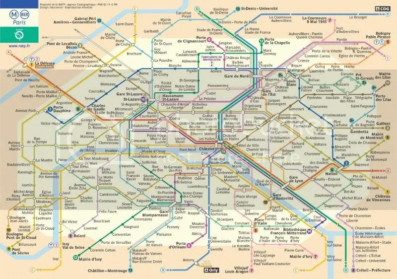Map of Subway System - Paris