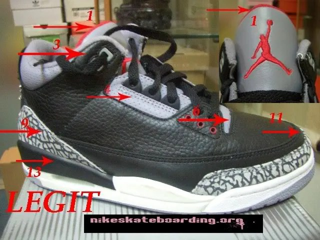 Air Authentique Jordan 3 Ciment Noir
