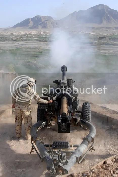 An Australian gunner from 4th Field Regiment Royal Australian Artillery, fires the 105mm Roshan Dragon gun from Roshan Tower [Picture: Cpl Dan Bardsley RLC]