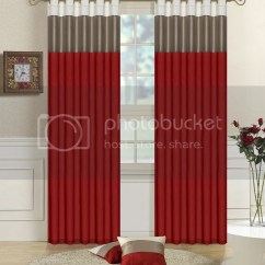 Red And Grey Living Room Curtains Layout New Faux Silk Fully Lined Striped Eyelet Ring Top Free You Are Bidding On