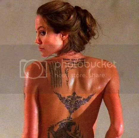 Tiger Tattoo,angelina jolie's tattoo,topless,prayer tattoo,naked,nude,