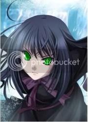 black hair green eyes anime girl