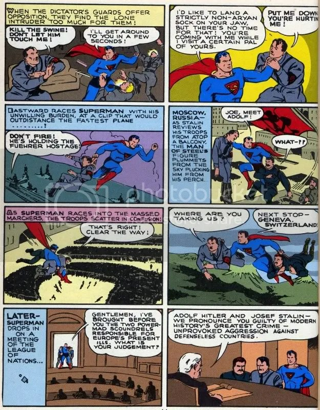 """Superman Versus Hitler and Stalin 1943 Look Magazine.jpg"" ""Superman Versus Hitler and Stalin 1943 Look Magazine"