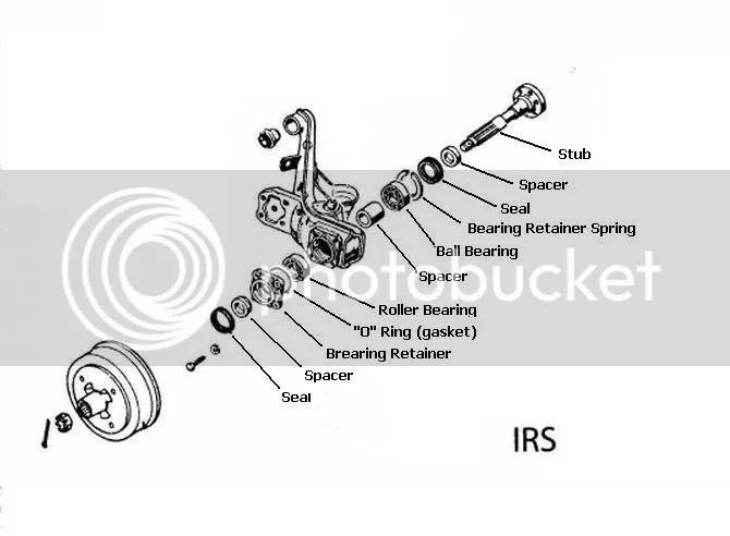 Blown apart diagram of Super Beetle rear trailing arms