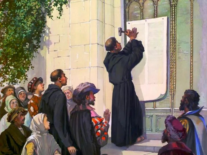 MARTIN LUTHERS NAILS HIS 95 THESIS TO THE DOOR OF THE CATHEDRAL IN WITTENBURG GERMANY, STARTING THE GREAT PROTESTANT REFORMATION, THAT GLORIOUSLY CONTINUES UNTO THIS VERY DAY!! Pictures, Images and Photos