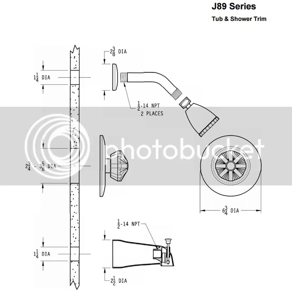 PRICE PFISTER J89-A750 Parisa™ 1-Handle Shower Trim Kit